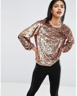 Slouchy Top In All Over Sequins