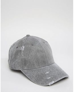 Distressed Baseball Cap In Charcoal
