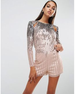 Night Ombre Sequin Playsuit With Cutouts