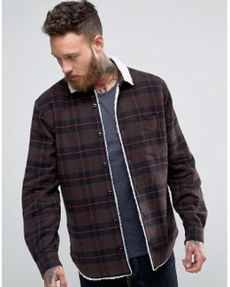 Overshirt With Check & Borg Lining In Brown