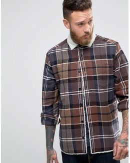 Overshirt With Check & Borg Lining In Light Brown
