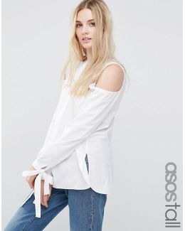 Cold Shoulder Top In Cotton With Tie Cuff Detail