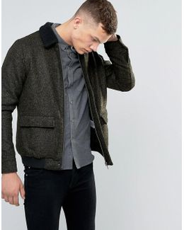 Bord Collar Wool-mix Flight Jacket