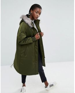 Satin A-line Parka With Faux Fur Lined Hood