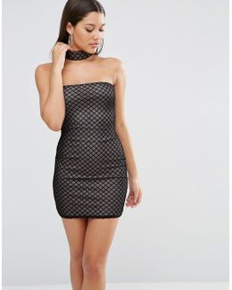 Grid Mesh Bodycon Choker Necklace Dress