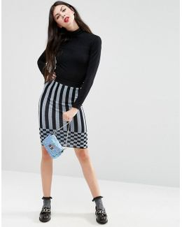 Knitted Lurex Stripe Skirt