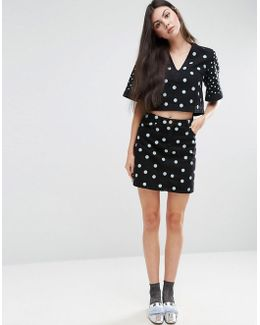 Denim Spot Embroidered Mini Skirt