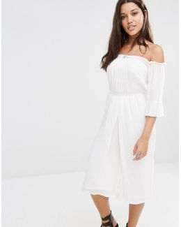 Bardot Cheesecloth Culotte Jumpsuit