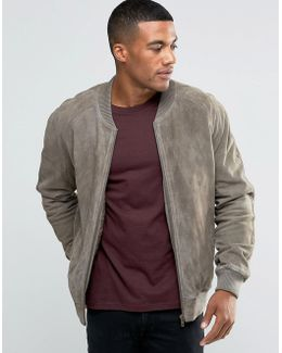 Suede Bomber Jacket In Stone