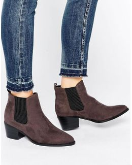 By Dune Perina Grey Heeled Chelsea Boots