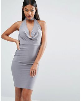 High Neck Bodycon Dress With Cowl Front