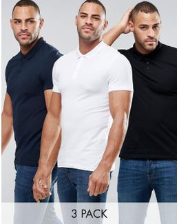 3 Pack Muscle Pique Polo Shirt In Black/white/navy Save