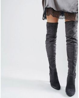 Sibyl Thigh High Suede Heeled Over The Knee Boots