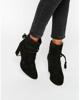 Onyx Tie Wrap Suede Heeled Ankle Boots