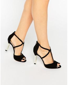 Melody Cross Strap Suede Heeled Sandals