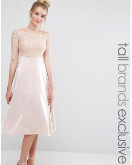 Lace Bardot Midi Prom Dress