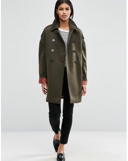 Oversized Pea Coat With Contrast Liner