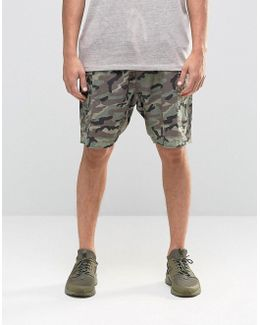 Slim Cargo Shorts In Linen Mix Washed Camo