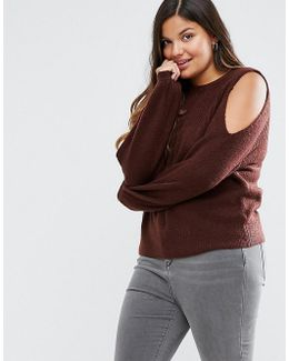 Jumper In Rib With Cold Shoulder
