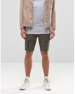 Skinny Cargo Shorts With Zips In Dark Green