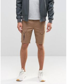 Skinny Cargo Shorts With Zips In Light Brown