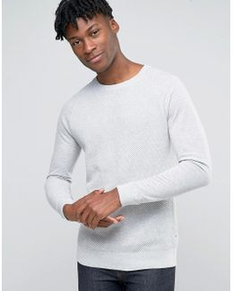 Textured Raglan Jumper With Jersey Sleeves