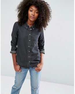 Denim Shirt In Washed Black