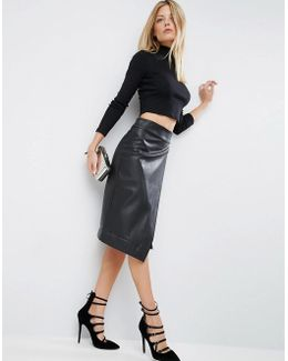 Leather Look Wrap Pencil Skirt With Deep Waistband
