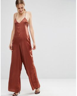 Cami Satin Jumpsuit With Wide Leg