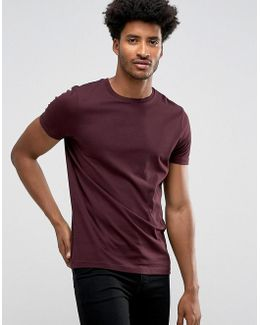 T-shirt With Crew Neck In Oxblood