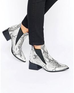 Rico Snake Printed Leather Heeled Ankle Boots