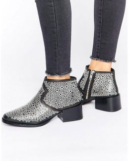 Lou Eyelet Heeled Ankle Boots
