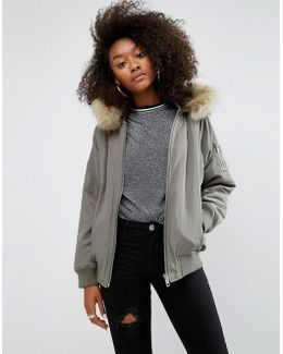 Bomber Jacket With Faux Fur Hood
