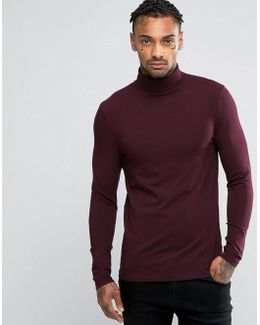Extreme Muscle Long Sleeve T-shirt With Roll Neck In Oxblood