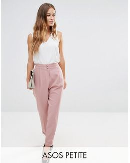 Tailored High Waisted Trousers With Turn Up Detail