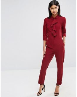 Jumpsuit With Shirt And Ruffle Detail
