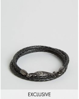 Plaited Leather Wing Bracelet Exclusive To Asos