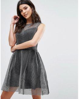 Metallic Skater Dress