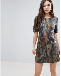 Smudge Print Skater Dress