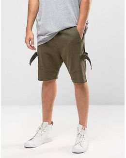 Drop Crotch Shorts With D Rings In Khaki