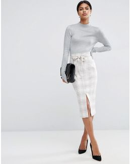 Tailored Pencil Skirt In Graphic Check