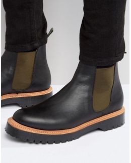 Chelsea Boots In Black Leather Made In England