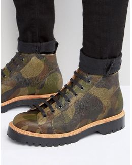 Monkey Boot In Camo Leather Made In England