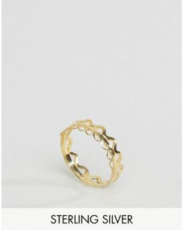 Gold Plated Sterling Silver Triple Shape Stacked Ring