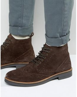 Suede Brogue Boots In Brown