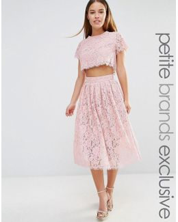 2 In 1 Allover Lace Full Prom Skater Dress