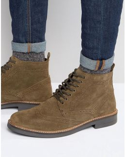 Suede Brogue Boots In Taupe
