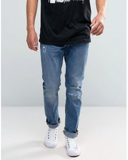 Ed-55 Tapered Jeans With Distressing