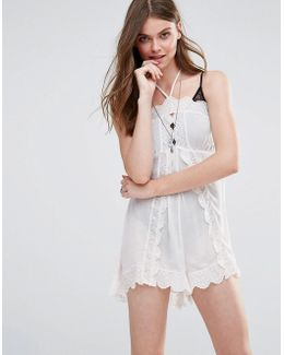 Run Heart Playsuit With Lace Trim