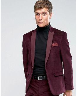 Slim Suit Jacket In Burgundy Velvet Cord